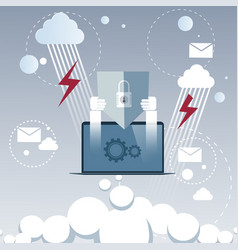 laptop computer device data protection cloud vector image