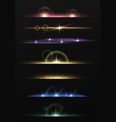 Lens flare shining borders realistic lights lines vector