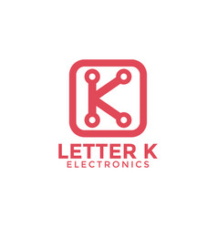 letter k electronics logo icon design template vector image