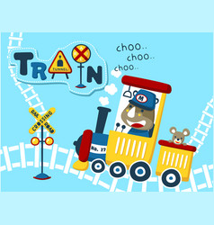 little train cartoon with happy animals vector image