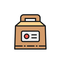 lunch box packing for fast food takeaway flat vector image