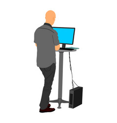 Man standing and working on computer it worker vector