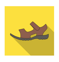 men summer brown leather sandals on a bare foot vector image