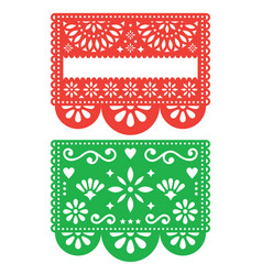 Mexican papel picado template design set vector