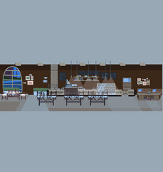 Modern cafe empty no people restaurant hall with vector