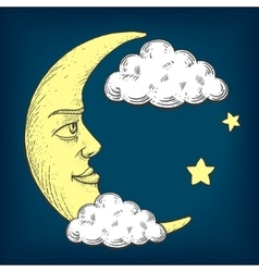 Moon with face engraving style vector image