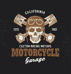 motorcycle garage biker vintage emblem with skull vector image