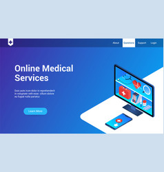 Online medical service template vector