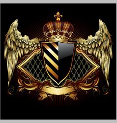 ornamental heraldic shield highly realistic vector image