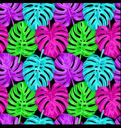 Pink monstera seamless pattern vector