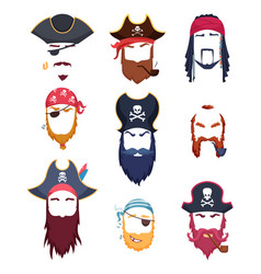 Pirate masks carnival costumes element mustache vector