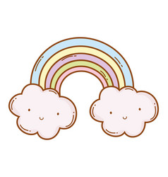 Rainbow and clouds cartoon vector
