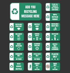 recycle stickers and labels vector image vector image
