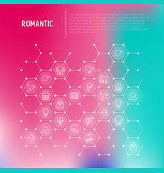 Romantic concept in honeycombs vector