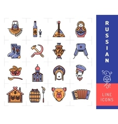 Russian culture color thin line icons Russia vector