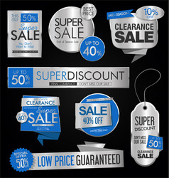 Sale stickers and tags silver collection vector