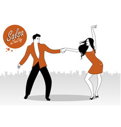 Salsa in city young couple dancing latin vector