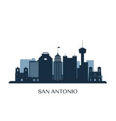 san antonio skyline monochrome silhouette vector image