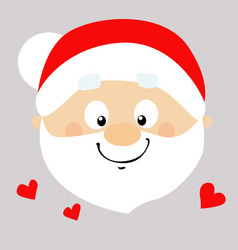 santa flat design cartoon face in love - il vector image