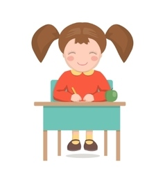 School girl sitting at the desk isolated vector image