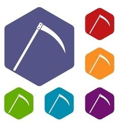 Scythe icons set vector