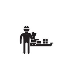 sea shipping black concept icon sea vector image
