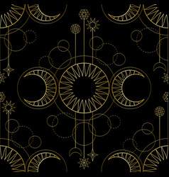 Seamless pattern from triple moon magic and vector