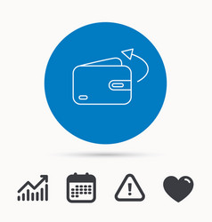 Send money icon cash wallet sign vector