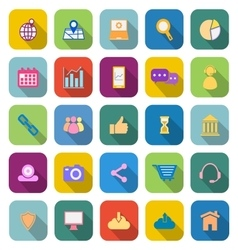SEO color icons with long shadow vector image