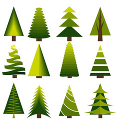 set decoration christmas trees winter design vector image