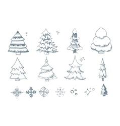 set hand drown fir trees vector image