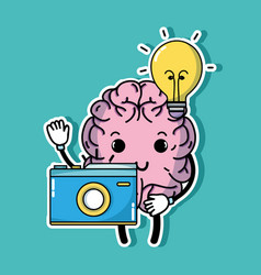 Set kawaii brain with knowledge education vector