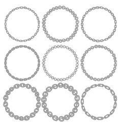 Set of 9 decorative circle border frames vector