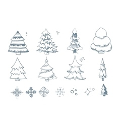 Set of hand drown Fir trees vector