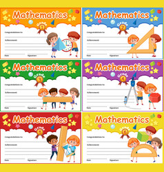 Set of mathematics certificate vector