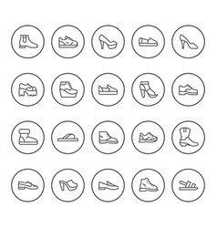 Set round line icons of shoes vector
