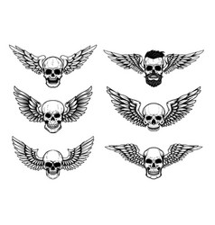 Set winged skull isolated on white vector