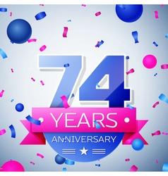 Seventy four years anniversary celebration on grey vector