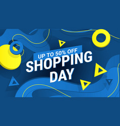 shopping day discount poster or banner with vector image