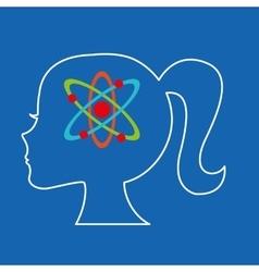 silhouette head girl student chemistry vector image