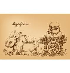 Sketch of easter bunny delivering vector