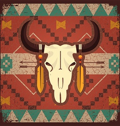 Skull bull with ethnic ornament vector