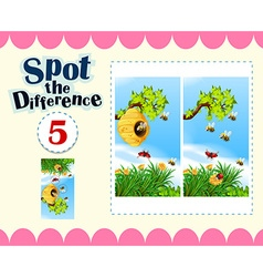 Spot the difference with insects flying vector