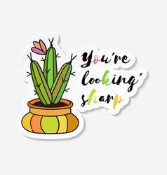 sticker with colored funny cute cactus vector image