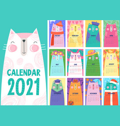 stylish calendar with cute cats vector image