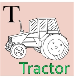 T letter alphabet Coloring book tractor vector