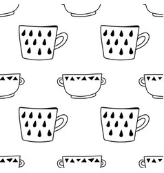 Tea and coffee mugs seamless pattern black and vector