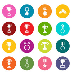 trophy icons many colors set vector image