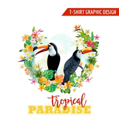Tropical Graphic Design Toucan and Tropical Flower vector image