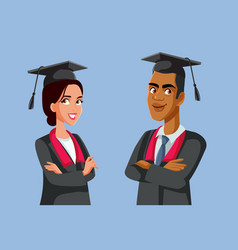 Two graduate students in robes characters vector
